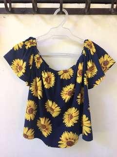 Off shoulder Sunflower Top