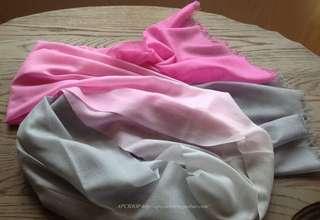 🚚 現貨漸層戒指絨長巾粉色配淺灰,超美