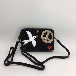 Tory Burch Peace Embellished Suede Crossbody Bag - black