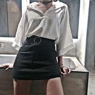 大圓環拉鍊短裙