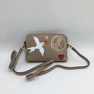 Tory Burch Peace Embellished Suede Crossbody Bag - beige
