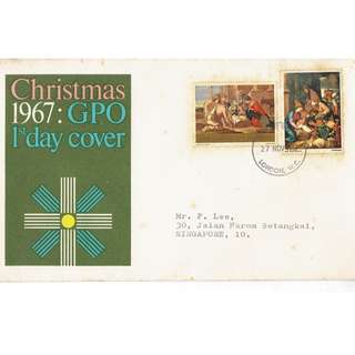 FDC 1967 Christmas in Britain conditions of stamps and cover as in picture