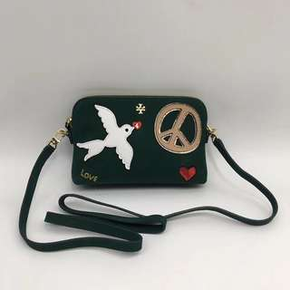 Tory Burch Peace Embellished Suede Crossbody Bag - dark green.