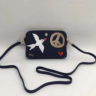 Tory Burch Peace Embellished Suede Crossbody Bag- navy dark blue