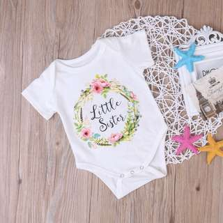 Instock - little sister floral romper, baby infant toddler girl children sweet kid happy abcdefgh so pretty