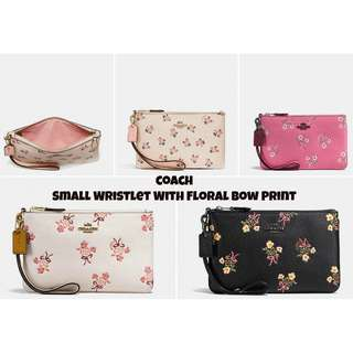 [Pre-order US stock] - Coach- Small Wristlet With Floral Bow Print