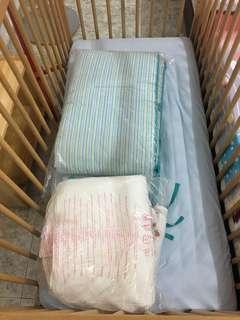 cot + mattress + mattress cover + quilt + quilt cover + cot bumper