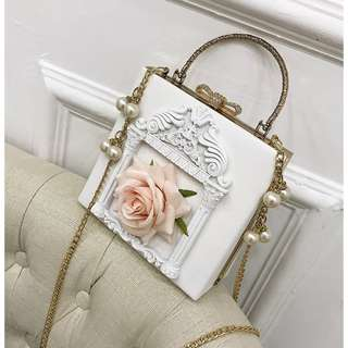 巴洛克復古風花朵手提链条斜挎包