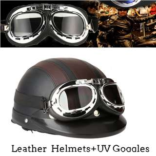 Synthetic Leather Helmet with visor and UV goggles