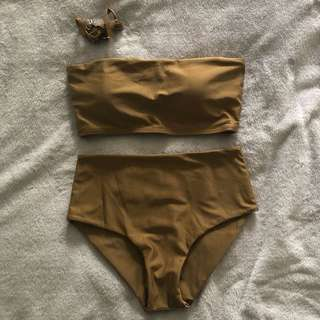Nude Bandeau Two Piece Swimsuit
