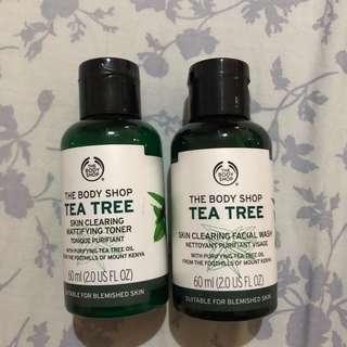 bodyshop toner dan facial wash tea tree