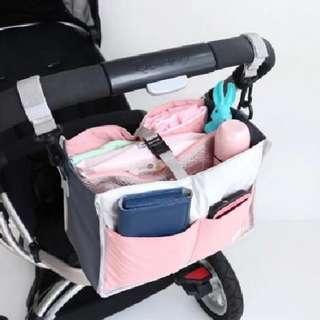Instock - pink Pram organizer bag, baby infant toddler girl children abcdefgh sweet kid so pretty
