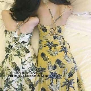 Pineapple Print Korean Dress