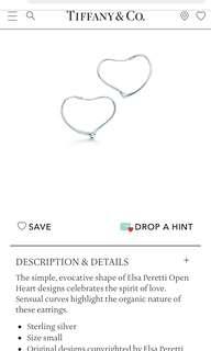 Tiffany earrings open heart