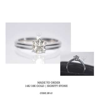 Ladies Ring in 14 K Gold & Signity Stone