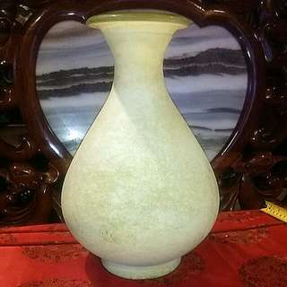 Unique Glass Vase Greenish Yellow