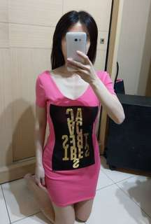🚚 Korea 粉紅色彈性洋裝