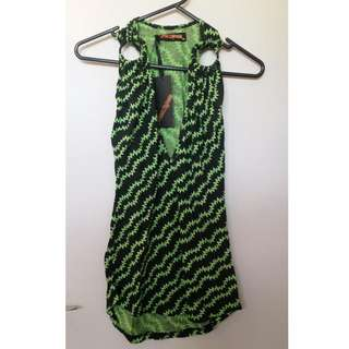 Genuine BNWT Princess Highway retro punk green and black ring top 70s 80s Size 10 Dangerfield