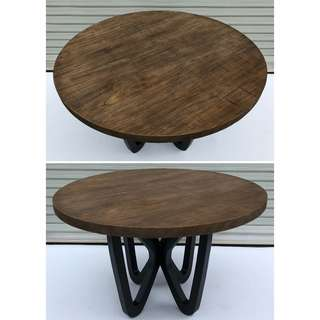 Circular Solid Wood Dining Table w/ Steel Legs