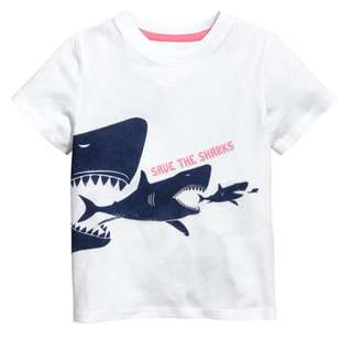 LM038 New Toddler Boys White Save the Shark Tee Top T-shirt