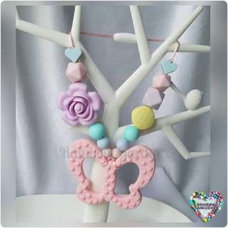 Pastel Pink butterfly with pastel beads Carrier Accessory