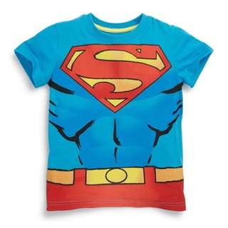 LM039 New Toddler Boys Marvel Superhero Blue Superman Tee
