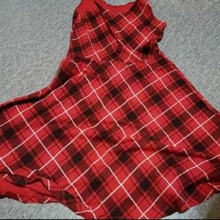 WTS: Preloved Red Tartan Checkered Dress