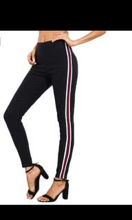 SHEIN Ladies Side Striped Skinny Pants High Waist Woman Pants Casual Women Autumn Black Zipper Fly Skinny Trousers