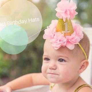 Instock - 1st pink birthday hat, baby infant toddler girl children sweet kid happy abcdefgh so pretty