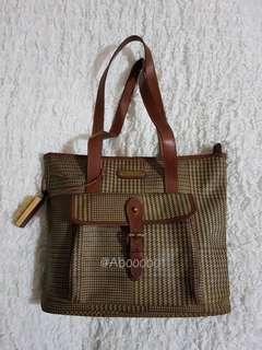 VINTAGE RALPH LAUREN leather Houndstooth shoulder bag