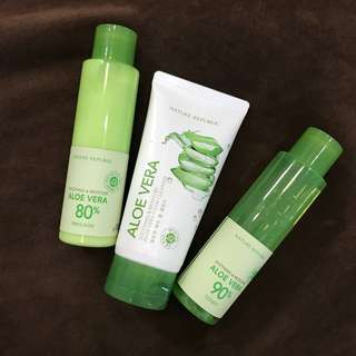 NATURE REPUBLIC SOOTHING & MOISTURE ALOE VERA (Foam cleanser, Toner, Emulsion)