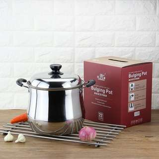 Sigang stainless kithcen ware high Bulging pot for soup w/stainless cover