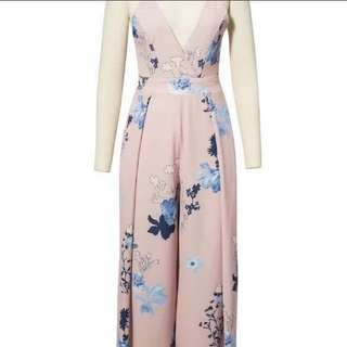 Floral jumpsuit in nude