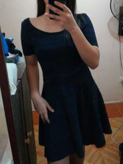 h&m dark blue dress