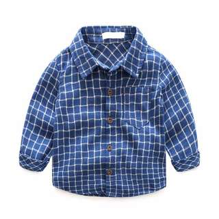Instock - blue checkered shirt, baby infant toddler girl boy sweet kid happy abcdefgh so happy