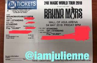 Bruno Mars VIP1 Ticket - Best View!