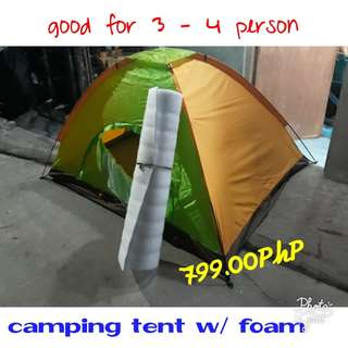 CAMPING NEEDS (tent, portable stove, etc.)