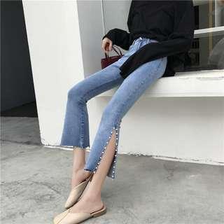 全新 女裝 Q867687 高腰顯瘦九分褲微喇褲開叉釘珠直筒褲牛仔褲學生長褲