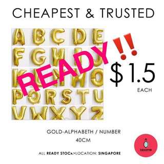 40cm number/alphabeth foil balloon gold