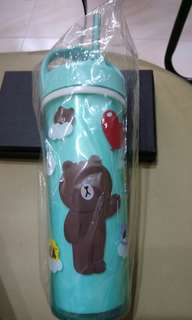 Line Brown water bottle for kids