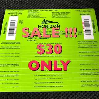 SALE HORIZON FAST FERRY $30 Two Way Include Tax. For INDONESIAN PASSPORT ONLY. OPEN TICKETS.