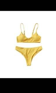 Yellow High Cut Brallete Bikini Set