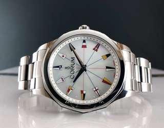 Pre owned Corum Admiral cup midsize in 38mm mop quartz watch full set
