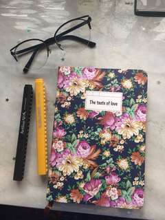 Floral Notebook with Gold Lining