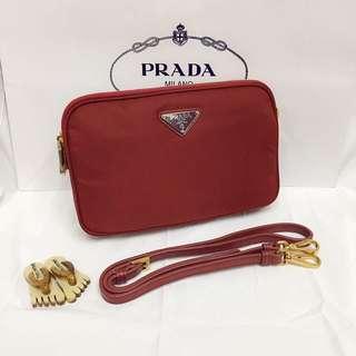Prada Nylon Double-Compartment Crossbody Bag