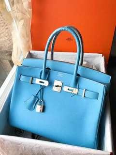 🦋🦋Hermes Birkin 30 7N糖果藍🌈EPSOM皮 超級美的顏色 拼色