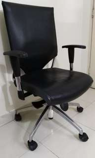 Adjustable genuine leather office chair