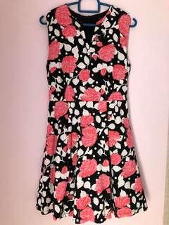 Pink & Black Floral Dress