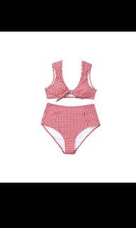 Red and White Checked High Waisted Tie Front Bikini