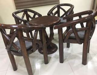 Antique Tree Trunk Solid Teak Wood Garden Coffee Tea Table And Chair